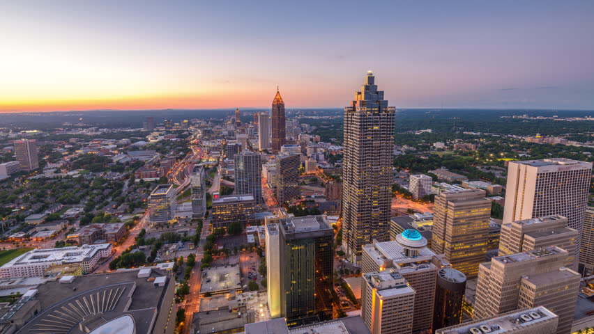 Atlanta, Georgia, USA downtown skyline time lapse from day to night.