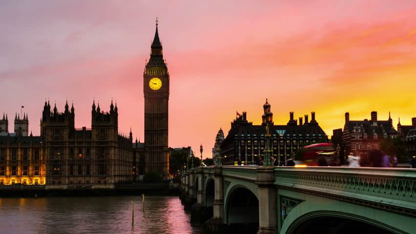 London, UK. Sunset over the city of London, UK. Colorful sky behind Westminster and Big Ben. Westminster bridge at night. Time-lapse at sunset | Shutterstock HD Video #28274707