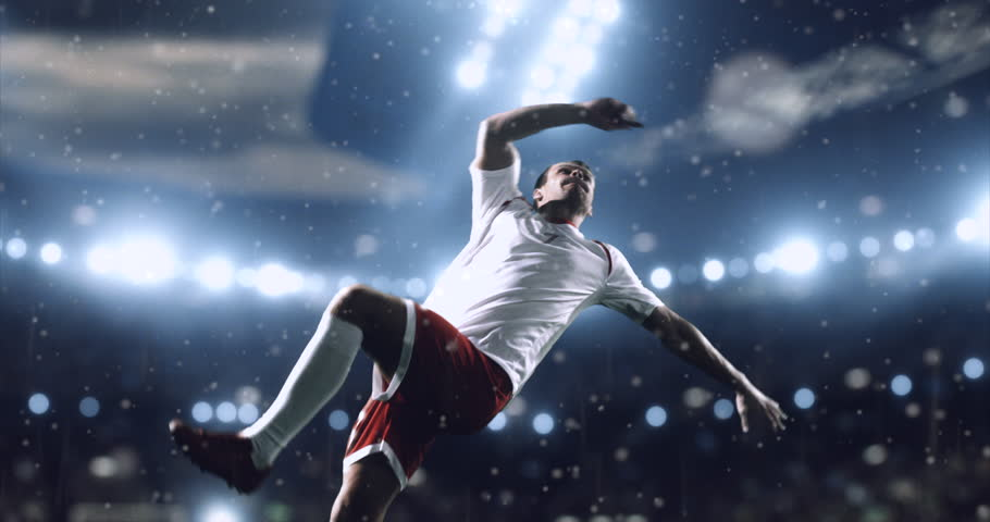 4k footage of a soccer player in dramatic play during a soccer game on a professional outdoor soccer stadium. Players wear unbranded uniform. Stadium and crowd are made in 3D. #28283587