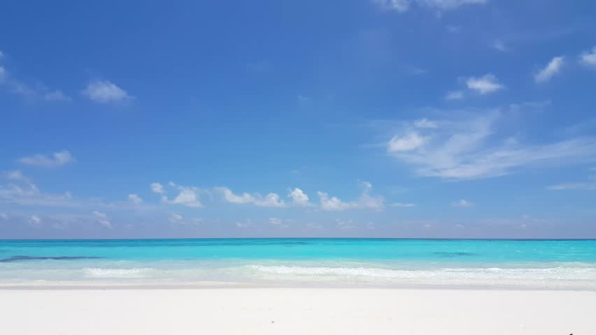 Beach Sand Clouds Sea Caribbean Water Peaceful: Empty Beautiful White Sand Beach And Turquoise Water On