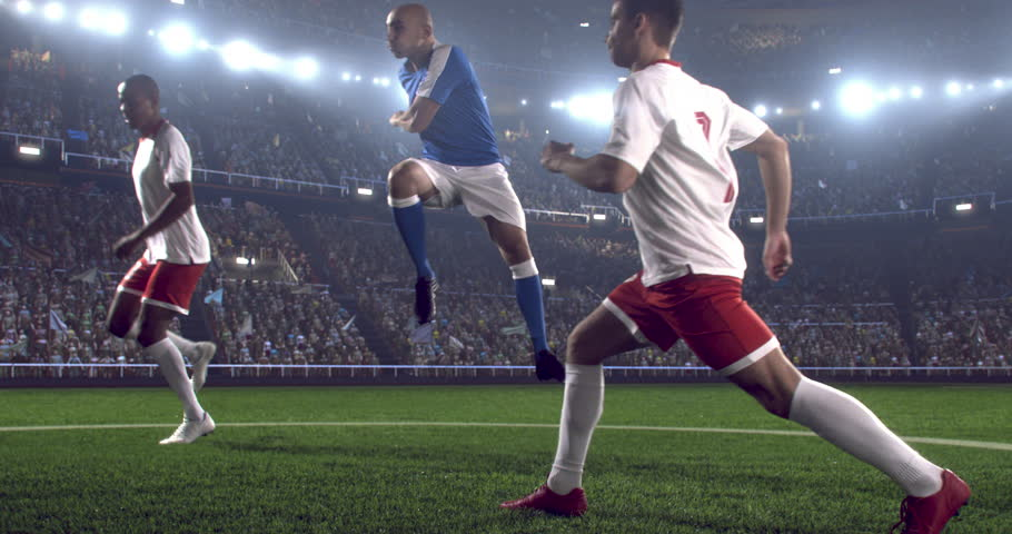 4k footage of a soccer player in dramatic play during a soccer game on a professional outdoor soccer stadium. Players wear unbranded uniform. Stadium and crowd are made in 3D.  | Shutterstock HD Video #28349407