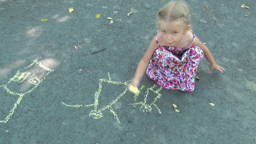 Child Drawing a Mother and a Child Near a House, Little Girl Drawing on Asphalt