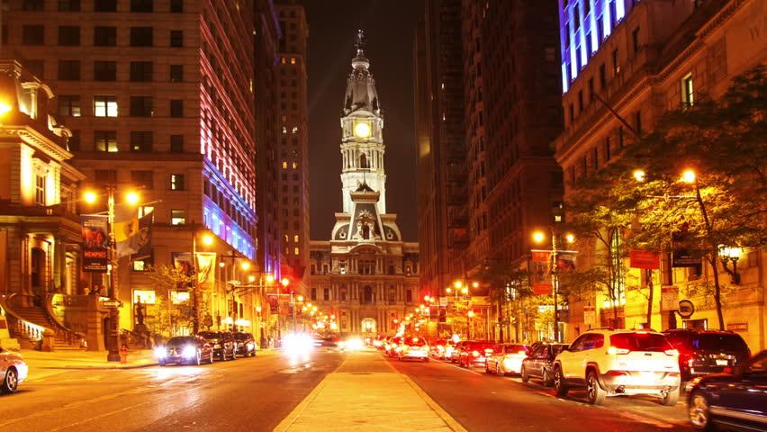 4K night timelaspe of Philadelphia streets | Shutterstock HD Video #28377757