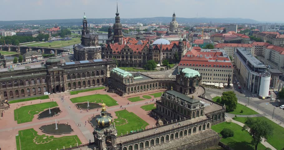 Dresden, Germany historical building Zwinger Aerial View - Drone  #28383757