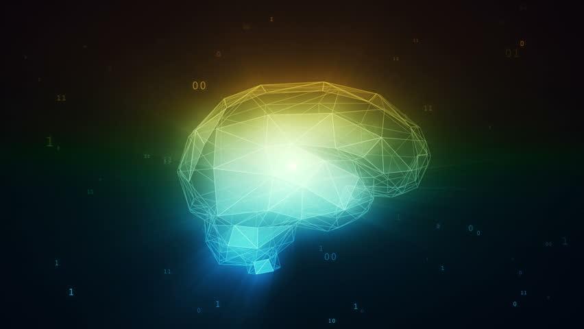 Digital artificial intelligence brain in cloud of binary data | Shutterstock HD Video #28439056