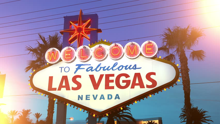 High quality video of welcome to fabulous Las Vegas Sign at dusk in 4K