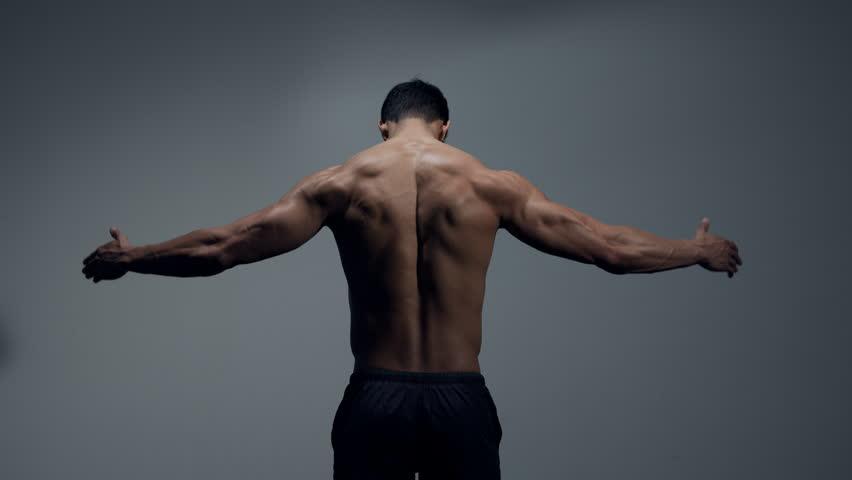 Fitness model back muscles and wingspan. Studio shot. Medium shot.