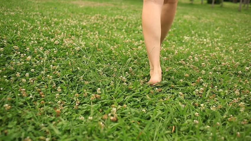 woman's bare feet walking over green grass field, Flowers of clover
