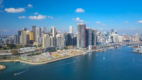 4k aerial hyperlapse video of Darling Harbour of Sydney
