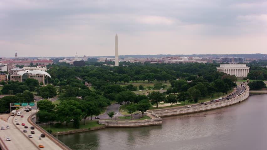 Washington, D.C. circa-2017, Following Potomac River past Lincoln Memorial. Shot with Cineflex and RED Epic-W Helium.