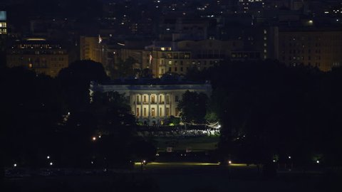 Washington, D.C. circa-2017, Aerial view of White House at night. Shot with Cineflex and RED Epic-W Helium.