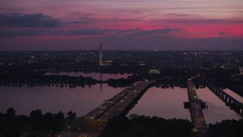 Washington, D.C. circa-2017, Flying over Potomac river bridges with Jefferson Memorial and Washington Monument in distance. Shot with Cineflex and RED Epic-W Helium.