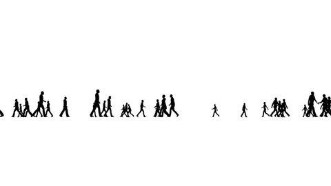 Silhouette crowd walking on white