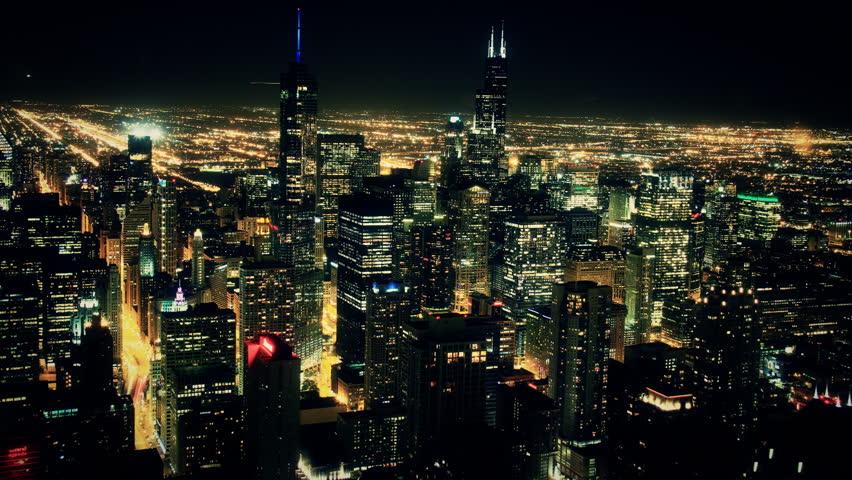 Chicago Night Skyline Timelapse 2. Chicago skyline at night. Shot in long