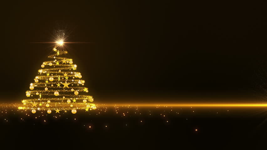 Gold lights Christmas Tree