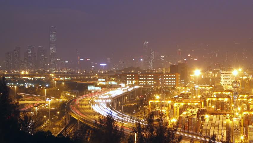 Hong Kong Skyline and Container Terminal at Night - Hong Kong Kwai Tsing