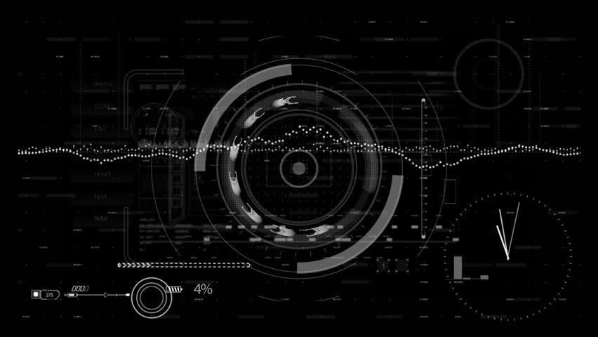 Looping HUD elements animation.PNG alpha.Futuristic Technological intro.Sci fi background.Good for opener,titles. Perfect tech screensaver. News intro. Type1 #28540237