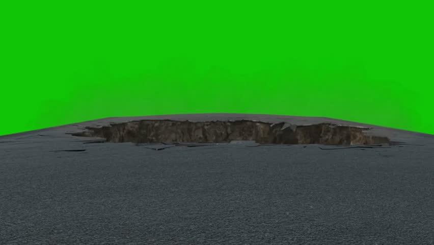 Chasm Hole Destruction Asphalt Green Screen 3D Rendering Animation VFX