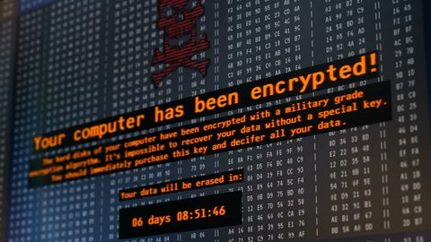 Petya cyber attack, warning message on computer screen, hackers encrypting data. Petya ransomware attack, data encryption, information theft, computer hacking