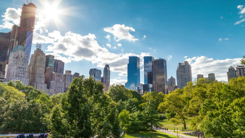 Central Park in New York City - Beautiful Timelapse of Trees in Midtown Manhattan | Shutterstock HD Video #2858677