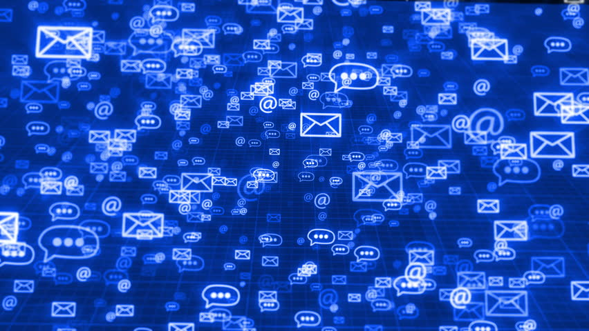 Glow sms, email and chat icons on a dark blue grid background. Concept of internet business communication. | Shutterstock HD Video #28588777