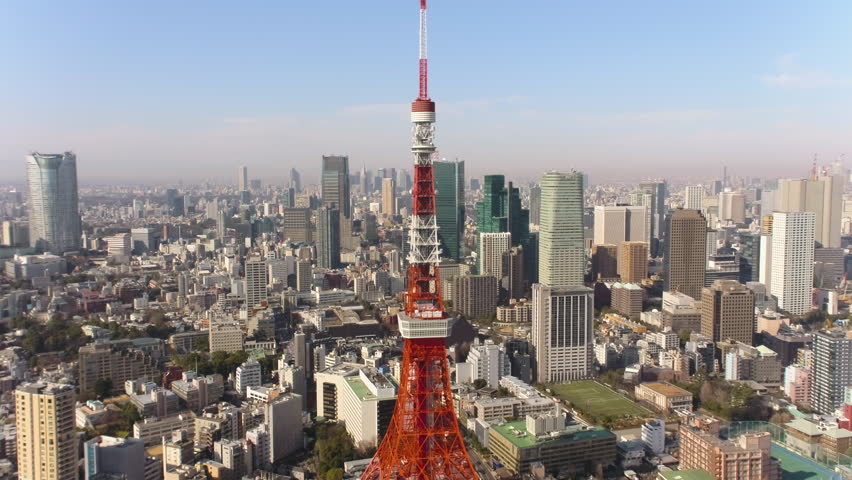 Japan Tokyo Aerial v33 Flying low backwards away from Tokyo tower with cityscape views