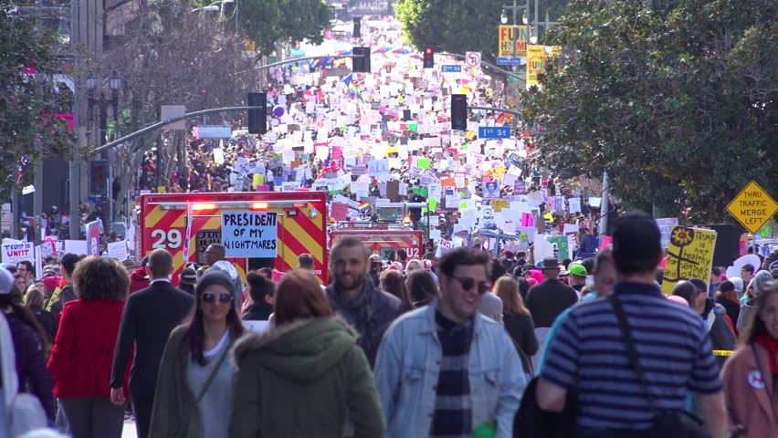 Los Angeles, California-2010s: A huge protest against the presidency of Donald Trump in downtown Los Angeles.