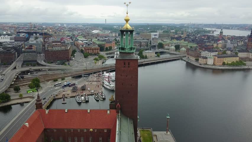 Stockholm city hall (stadshuset) shot from above with stockholm sky line
