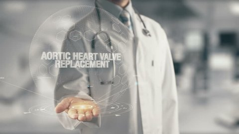 Doctor holding in hand Aortic Heart Valve Replacement