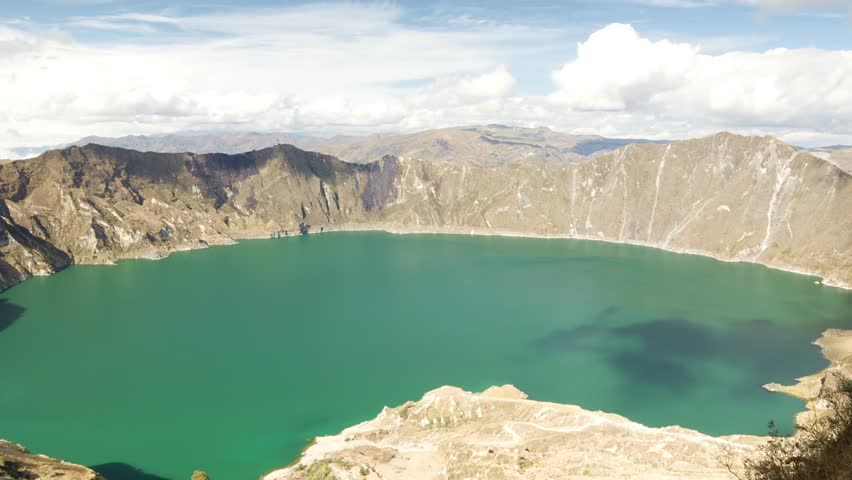 Zoom out time lapse over the Quilotoa crater in Ecuador.The 3 kilometers wide