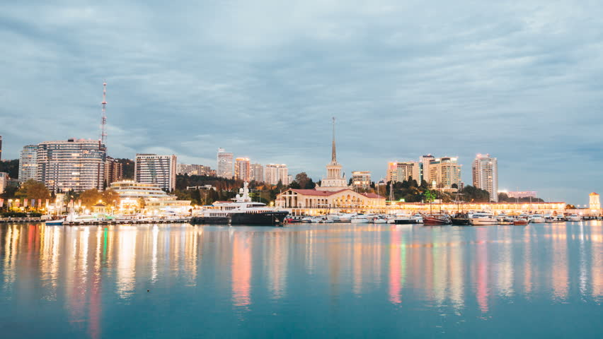 Day to night timelapse of historical center and Sochi sea port