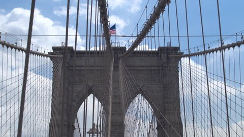 Architecture and design of New York's symbol - Brooklyn bridge. Dolly shot.