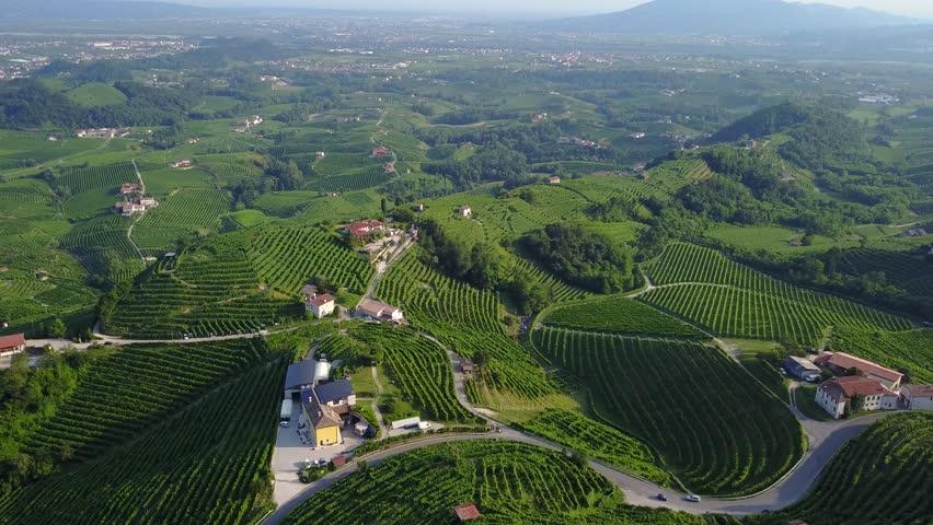 Drone view of Valdobbiadene hills - the Prosecco Cartizze Country