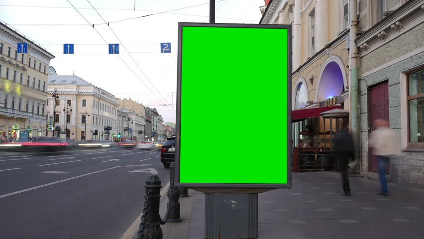Time Lapse. A Billboard with a Green Screen on a Busy Street | Shutterstock HD Video #28699417