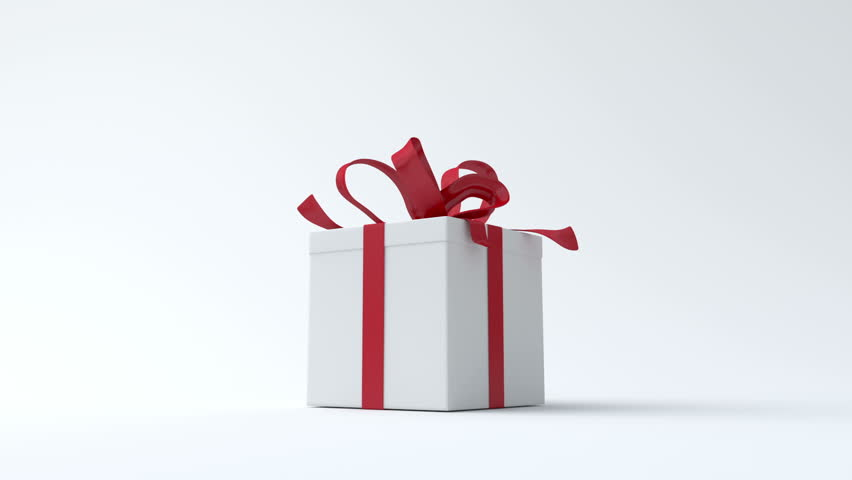 White gift box with red ribbon opening. Include alpha channel and color channel to key individual elements and tracking | Shutterstock HD Video #2871481