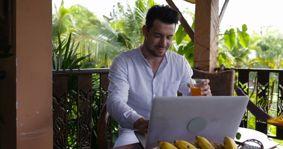 Happy Smiling Man Using Laptop On Terrace, Casual Businessman Working On Computer Typing Outdoors Slow Motion 60 | Shutterstock HD Video #28722307