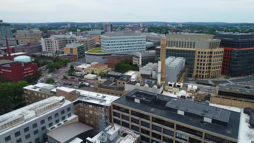 BOSTON, MA, USA - JUNE 30, 2017: Flying over Massachusetts Institute of Technology 4k 60p