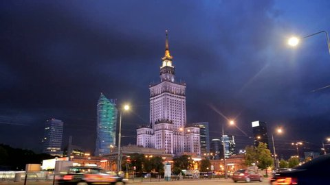 WARSAW - 27 OCT: Timelapse view over Warsaw showing the Palace of Culture and Science Building, a major landmark in the city on 27 October 2016 in Warsaw, Poland