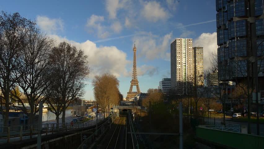Sunny day paris city eiffel tower train traffic bridge panorama 4k france | Shutterstock HD Video #28763512