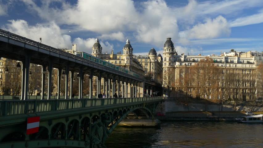 sunny day blue sky paris city siene riverside living block panorama 4k france #28763545