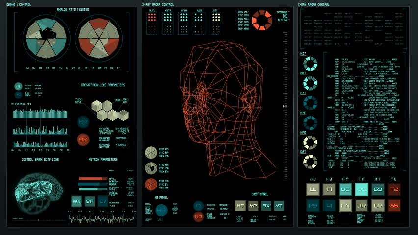 Ultra detailed abstract digital background. Blinking and switching indicators and statuses showing work of command center, processing big data, machine deep learning. Facial recognition sysytem, | Shutterstock HD Video #28808527