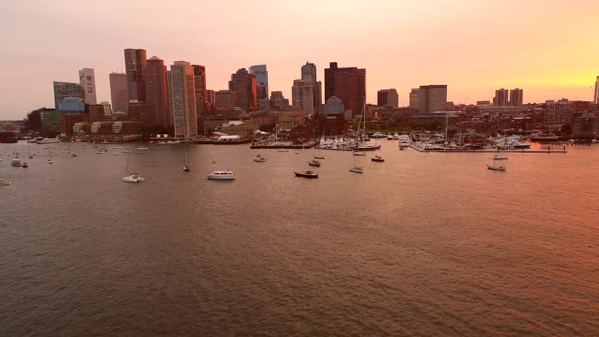 Aerial drone video Orange sunset over Boston