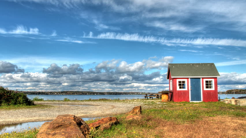 A time lapse of quaint little fish house in Harpswell, Maine.