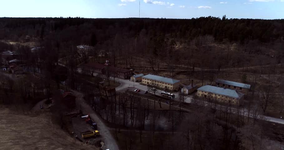 Fiskars Village Cinema 4k Aerial View Around Fiskari Steelworks At A Sunny Spring Day