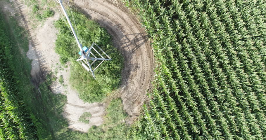 Aerial zoom out of irrigated corn fields | Shutterstock HD Video #28855897