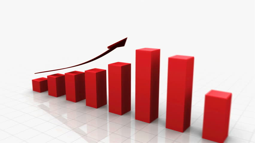 3D Growing Business Chart / bar graph in Red with Climbing Arrow. 8 Bars total. Different variations of this file as well as many other business related animations available in my Contributor Gallery. | Shutterstock HD Video #2886661