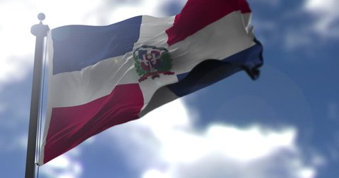 Dominican Republic flag is waving at a beautiful and peaceful sky in day time while sun is shining. 3d rendering.