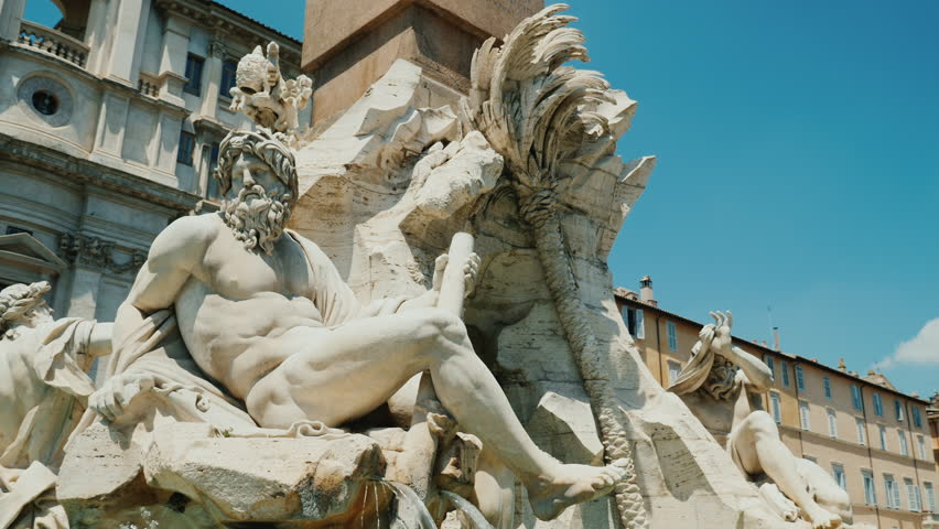 Steadicam shot: Four Rivers fountain in Piazza Navona in Rome Italy.