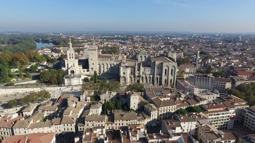 AVIGNON FRANCE NOV 2016 - AERIAL VIEW  OF THE HISTORICAL CENTER. PALACE OF THE POPES. FALL ATMOSPHERE IN PROVENCE. | Shutterstock HD Video #28897627