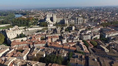 AVIGNON - FRANCE - NOV 2016 - DRONE VIEW ON THE HISTORICAL CITY CENTER.